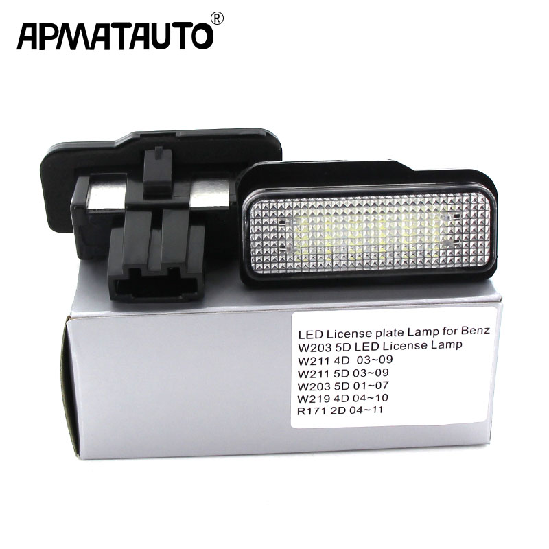 2PCS For Mercedes W211 4D W203 5D W219 R171 2D 12V Car LED License Plate Light No Error Canbus For Benz White Number Plate Lamp