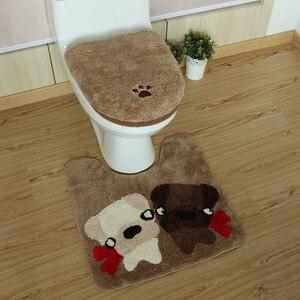 Image 2 - 3 pçs/set Inverno Engrosse Warmer Lavável Conjunto Higiênico Tampa de Assento Do Toalete & Banheiro Tapete Higiênico Tapete de Banho Dos Desenhos Animados Conjuntos de Almofada Do Assento