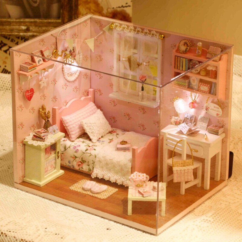 Home Decoration Crafts DIY Doll House Wooden Doll Houses Miniature DIY  Dollhouse Furniture Kit Room LED Lights Gift Sunshine H03 In Doll Houses  From Toys ...