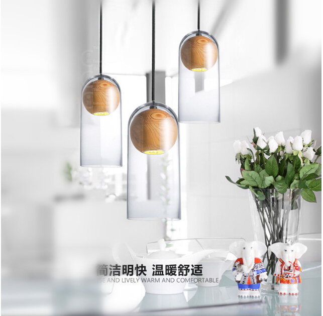 American country single-head LED glass arts cafe creative original simple wooden chandelier free shipping цена и фото
