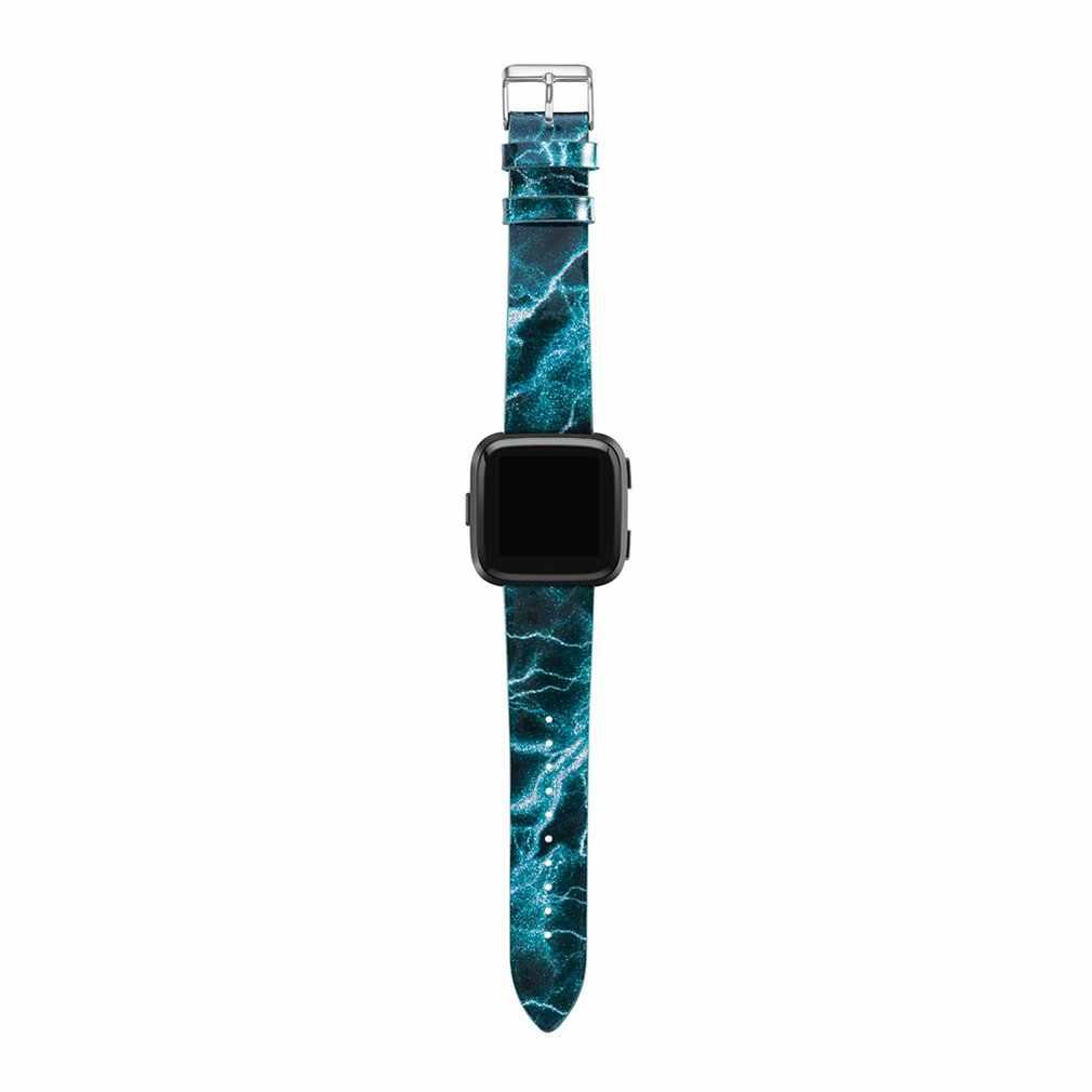 עור דפוס להקת יד רצועת עבור Versa Blaze חכם שעון צמיד רצועת החלפה