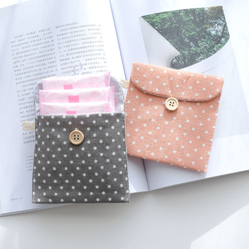 Women Girl Cotton Cosmetic Bag For Sanitary Napkin Storage Bags Outdoor Travel Case Storage Pouch Purse Organizer