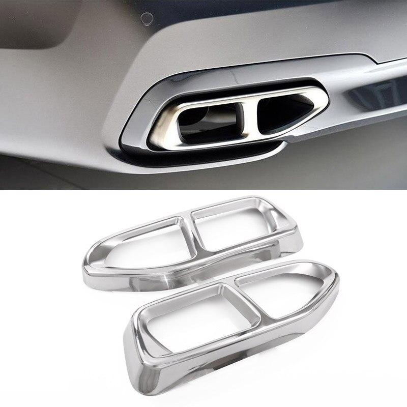 2pcs Exhaust Cover Trim For BMW 7 Series G11 G12 730 740 750li 2016 18 M