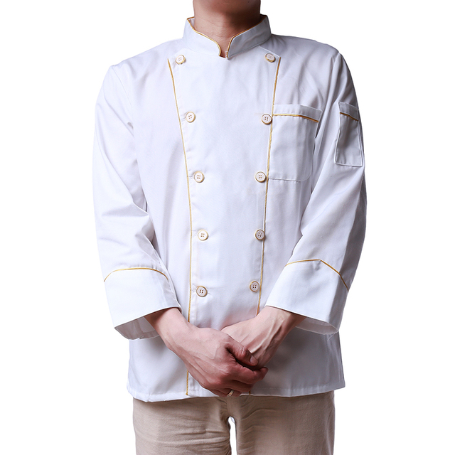 730dd2061d4 White Kitchen Chef Jacket Uniforms Full Sleeve Plus Size Cook Clothes Food  Services Frock Coats Work