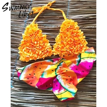 Yellow print bikinis 2019 mujer Halter micro bathing suit Push up swimsuit female sexy swimwear women Ruffles beach wear new