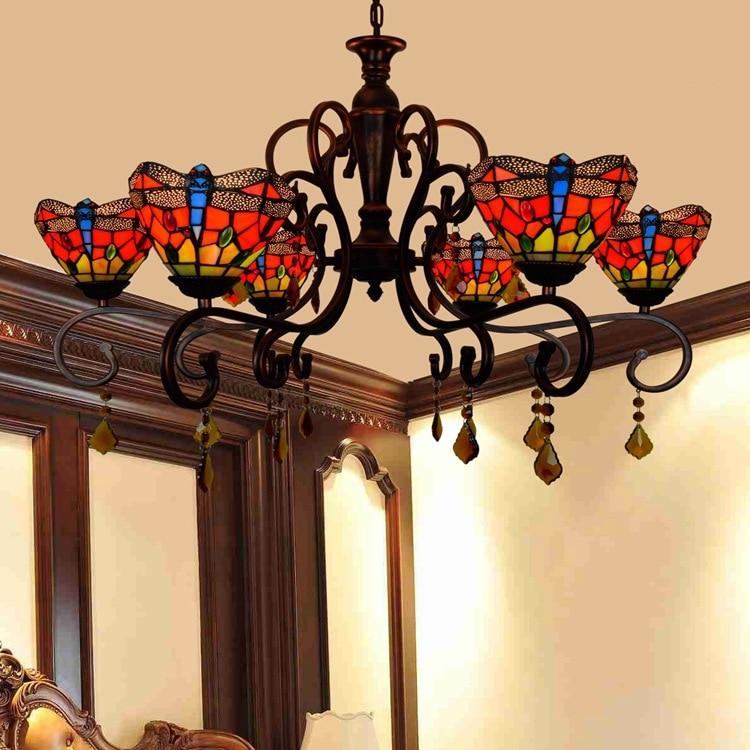 Tiffany Baroque rouge libellule vitrail Luminaire suspendu E27 110-240v chaîne pendentif lumières pour maison salon salle à manger
