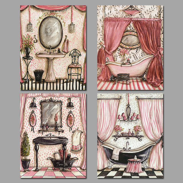 4 Pieces European Style Pink Princess Bathroom Decoration Wall Art Pictures Canvas Paintings For Living Room
