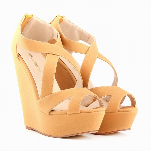 LOSLANDIFEN Wedges Cross-tied Women Sandals Lady Faux Suede Platform Peep Toe High Heels Shoes Summer Party Sandals 391-10SUede карандаш make up factory make up factory ma120lwhdr56