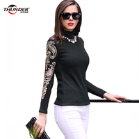 THUNDER STAR Women Turtleneck Sweater Casual Autumn Winter Women Slim Warm Knitted Pullovers Female Lace Embroidery