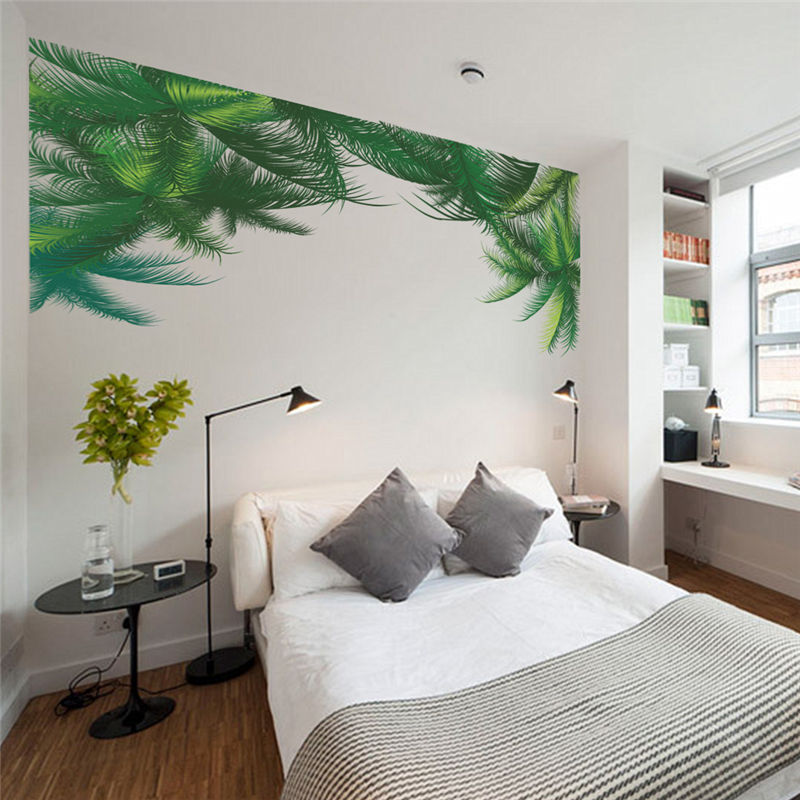 Palm Tree Green Leaf Wall Stickers Tv Background Living ... on Room Wall Decor id=76421