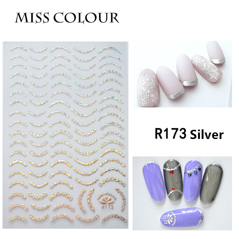 1pc Silver Gold 3D Ultrathin Nail Sticker Curve Stripe Lines Nail Stickers Adhesive Striping Tape Decals Manicure Tool Wholesale in Stickers Decals from Beauty Health