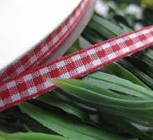 2/8″ 6mm tartan plaid ribbon bows appliques craft/sewing/doll Red 50Yard