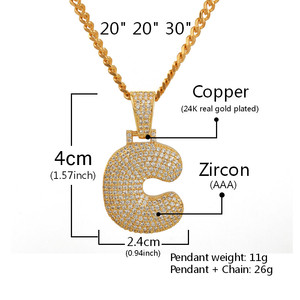 Image 2 - Custom Name Bubble Letters Chain Pendants Necklaces Mens Zircon Hip Hop Jewelry With 4MM Gold Tennis Chain