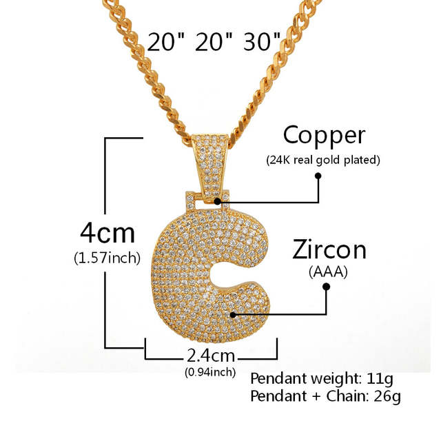 placeholder Custom Name Bubble Letters Chain Pendants Necklaces Men s  Zircon Hip Hop Jewelry With 4MM Gold Silver 10b194701