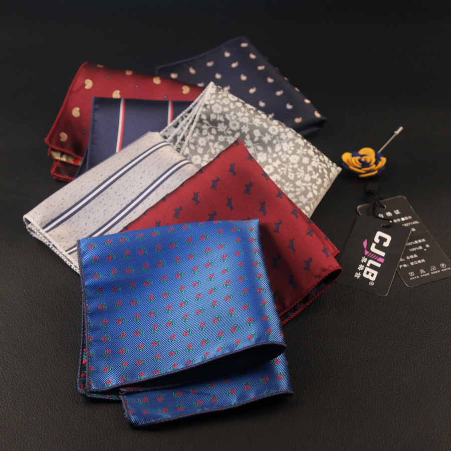 10pcs/lot  18color  Men's Business Suit Pocket Squares Printed Striped Handkerchief 1200 Pin Polyester Fabric Hankies