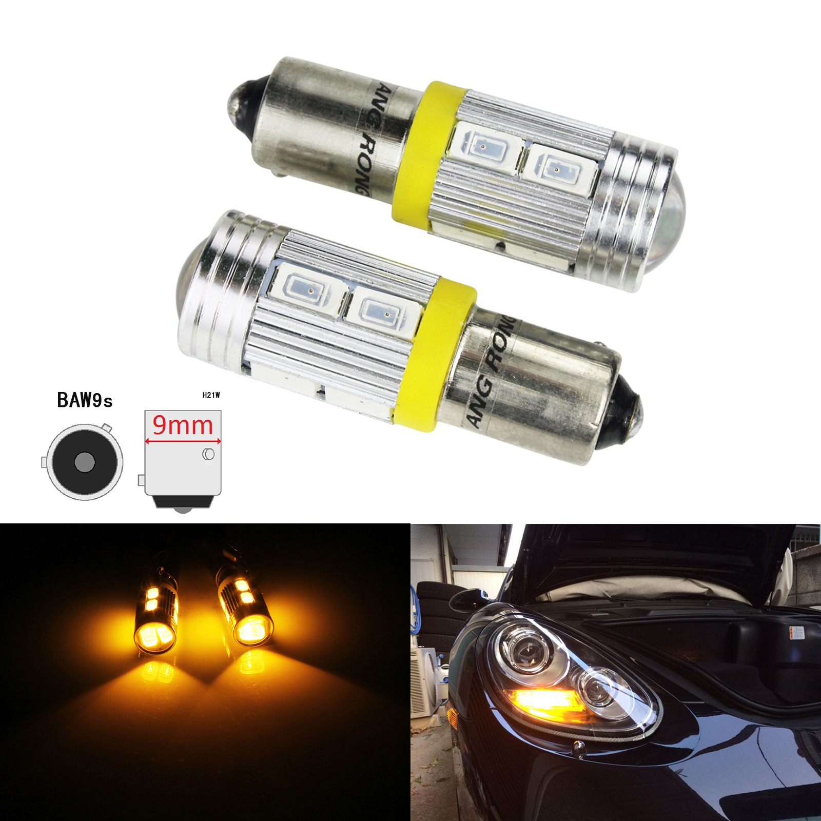 ANGRONG HY21W BAW9s 12146 64137L 10 SMD LED Indicator Turn Signal Reverse Parking Light