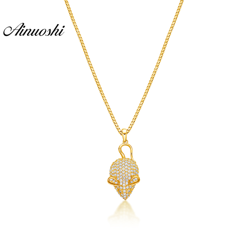 AINUOSHI 10K Solid Yellow Gold Pendant Delicate Skeleton Pendant SONA Simulated Diamond Women Men Jewelry 2.4g Separate Pendant