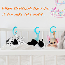 Baby Rattle with Soft Music Plush Toys Stuffed dogs Stroller Toy for Babies Pull Bell Bed Hanging Crib Mobile music for dogs