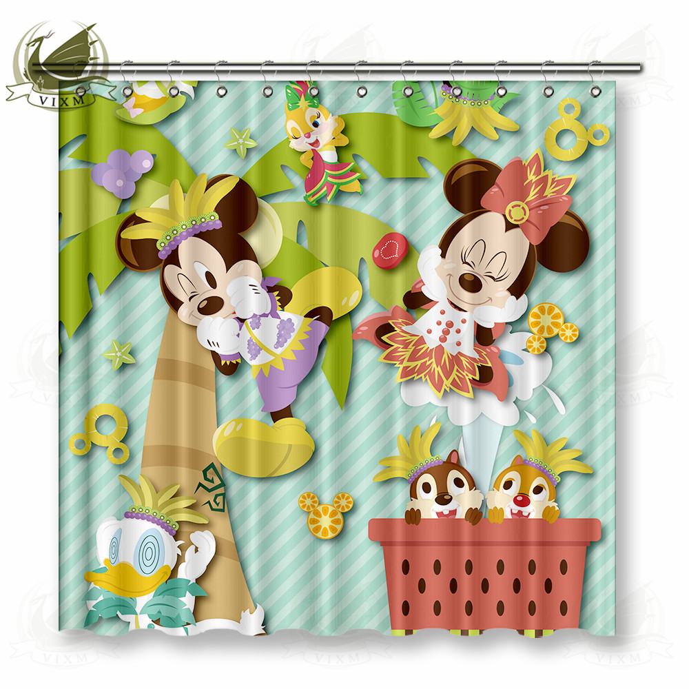 Vixm Home Mickey Minne Donald Duck Polyester Fabric Shower Curtain Summer Carnival Party Custom Window For Bathroom