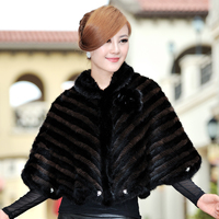 Winter Women's Real Natural Genuine Knitted Mink Fur Shawls Female Poncho Lady Wraps Cape Batwing Sleeve VF0348