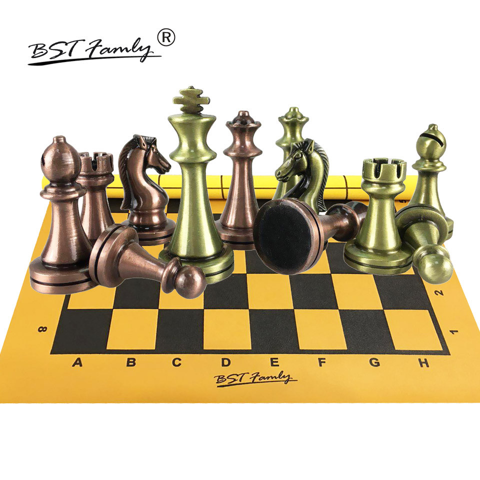 BSTFAMLY Kirsite Bronze Chess Set Portable Game of Iternational Chess PU leather Chessboard King Height 67mm Chess Game I103 chess and mathematical thinking