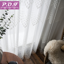 все цены на P.O.F Embroidered Curtain For Living Room Modern Tulle Window Drapes White Sheer For Bedroom Raindrop Design