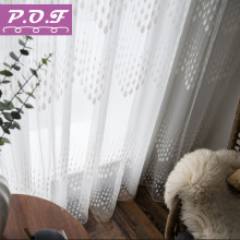 P.o.f bordado cortina para sala de estar moderna tule janela cortinas branco sheer para o quarto design raindrop(China)