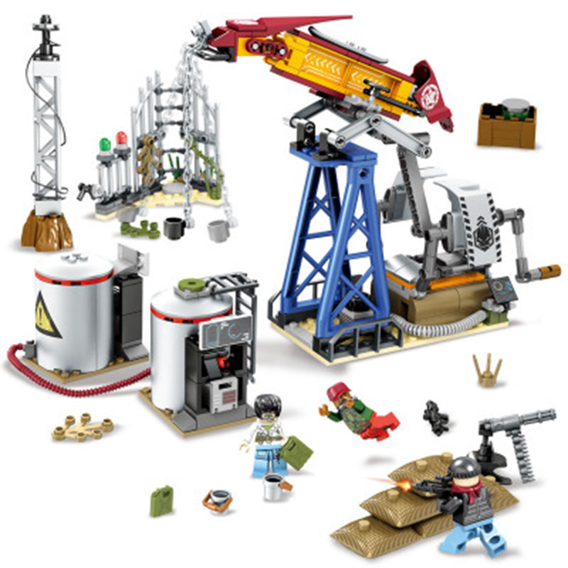 316pcs Military Series Oil Drilling Base Model Building Blocks Compatible Educational Figure Toys For Children Gifts