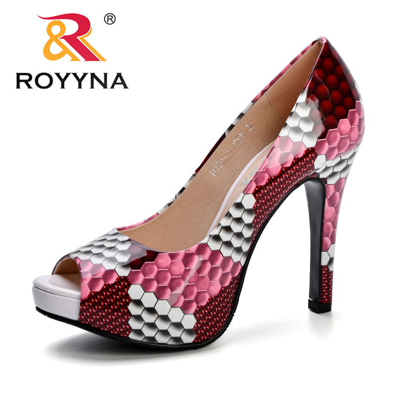ROYYNA High-Heeled Shoes Female Fashion Summer Platform Trendy Thin High Heels Breathable Shoes Women Pumps Peep Toe Lady Shoes
