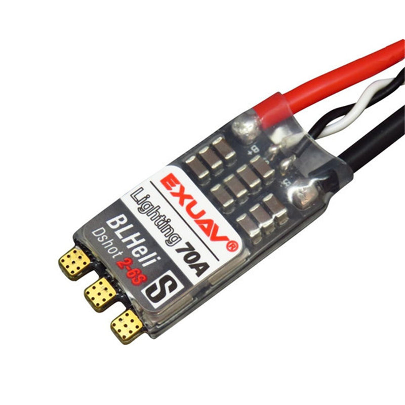 EXUAV Lighting 70A 2-6S BLHeli-s Brushless ESC support Oneshot125/42 Multishot Dshot 150/300/600 for RC Drone newest brushless esc 4 in 1 12a 2 4s blheli s firmware support dshot oneshot for quadcopter drone aircraft rc car