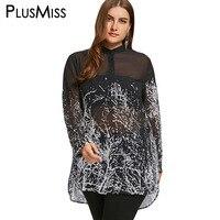 PlusMiss Plus Size 5XL Monochrome Dip Hem Tunic See Through Blouse Shirt Women Long Sleeve Sheer