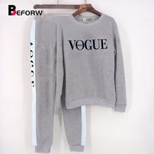 5c7a3b041 Conjunto de ropa deportiva de manga larga para mujer conjunto de 2 piezas  sudadera con estampado de letras VOGUE y pantalones tr.