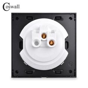Image 5 - Coswall 1 Gang 1 Wayสุ่มคลิกเปิด/ปิดสวิทช์ไฟผนังที่มีไฟLEDสีดำ/สีเทาเงินแปรงอลูมิเนียมแผงโลหะ