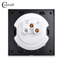 Coswall Luxurious 1 Gang 1 Way Random Click Push Button Wall Light Switch With LED Indicator Black Aluminum Metal Panel