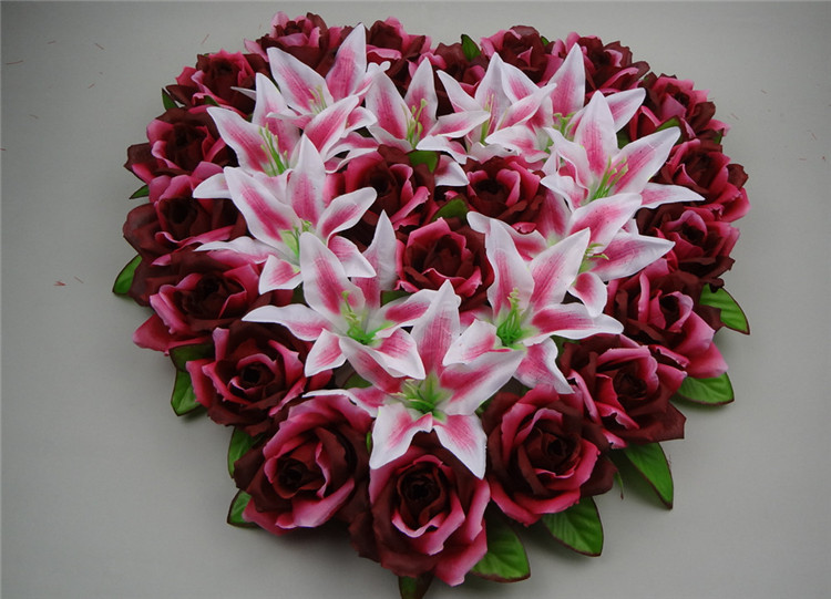 44x44cm heart shaped wedding car decoration artificial rose 44x44cm heart shaped wedding car decoration artificial rose flowers wedding wall door decoation silk lily floral decoration in artificial dried flowers junglespirit Image collections