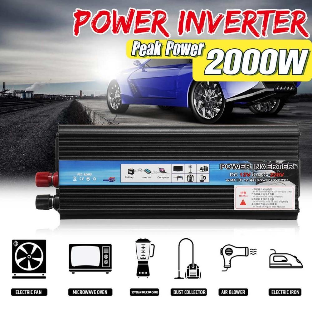 цена на Solar Power Inverter DC 12V/24V To AC 220V 1000W 2000W Peak Power Sine Wave Car Inverter Charger 12V 220V Voltage Converter