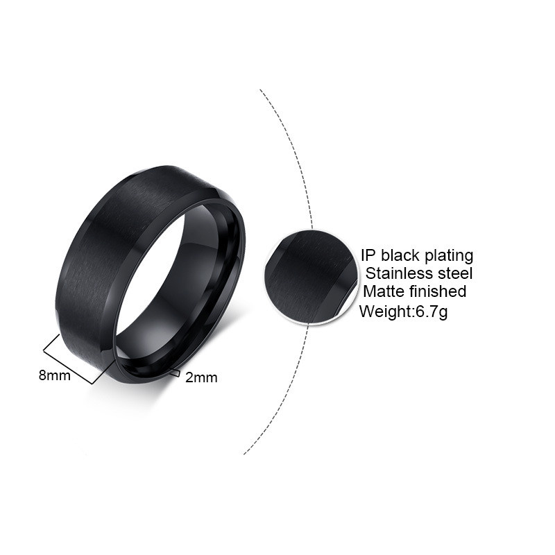 ZORCVENS 2020 New Fashion 8mm Classic Ring Male 316L Stainless Steel Jewelry Wedding Ring For Man 5