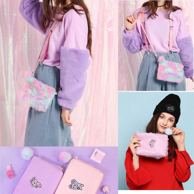 Rainbow Bulu Gadis Lucu Tas Selempang Musim Dingin Mini Tas Tangan Kawii Wanita Tas Bahu Kulit Kartun Kopling Amplop Dompet Bolsa