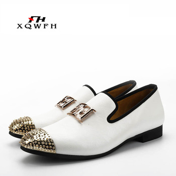 2019 New White Color Men Leather Shoes Men's Loafers with Gold Toe and Metal Party Wedding Men Dress Shoes vivodsicco fashion gold metal signature shark tooth genuine leather men loafers carved bullock party men printing dress shoes