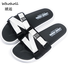 Whoholl Brand 2019 Summer Men Slippers Black Canvas Casual Shoes Slip-on Beach Lovers Flip Flops Size 35-46