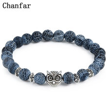Leopard Tiger Eye Lion Head Bracelet Owl Buddha Bead Bracelets Bangles Skull Charm Natural Stone Bracelet yoga Jewelry Men Women(China)