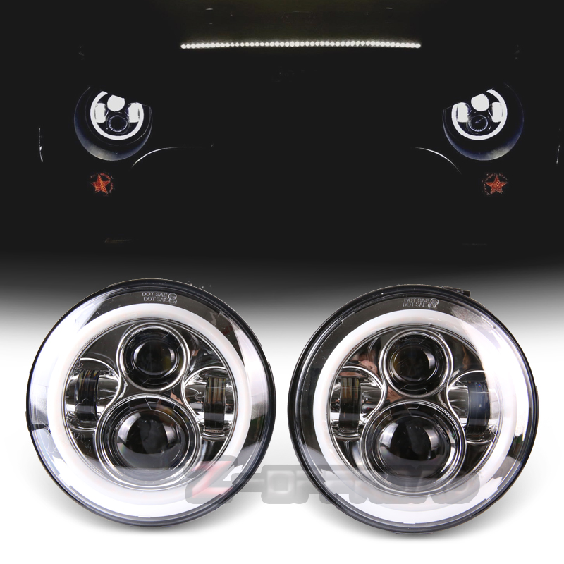 For Jeep Wrangler headlamp 7 LED plug and play halo ring headlights with angle eye Amber turn signal lights for lada niva 4x4