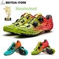 Santic 10 класс углеродное волокно обувь для велоспорта Мужская Ультралегкая обувь для шоссейного велосипеда дышащая самозапирающаяся профес...