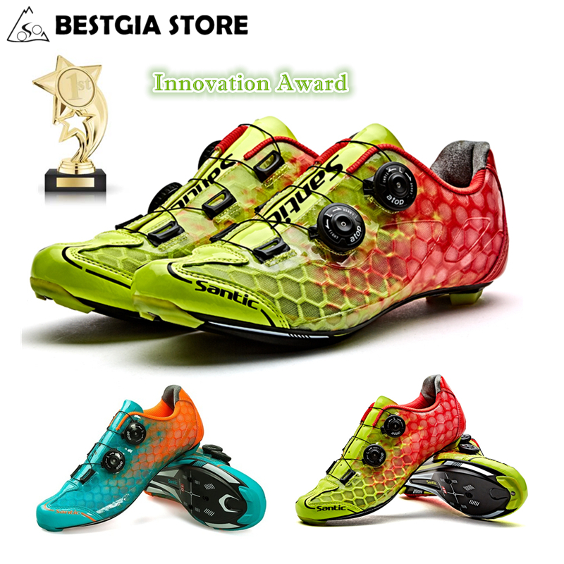 Santic 10 Grade Carbon Fiber Cycling Shoes Men Ultralight Road Bike Shoes Breathable Self Locking PRO Racing Team Bicycle Shoes