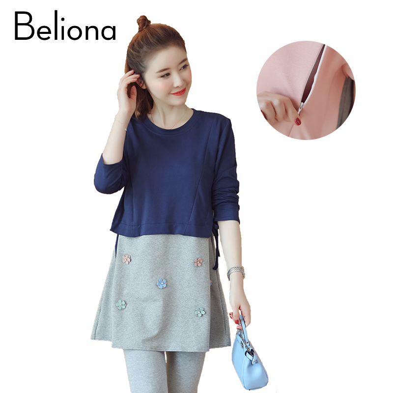 Fashion Cotton Maternity Tops T-shirts Comfortable Breastfeeding Clothing for Feeding Nursing Clothes for Pregnant Women fashion cotton padded maternity shirts autumn winter fashion thick knitted long sleeve pregnancy tops loose maternity clothes