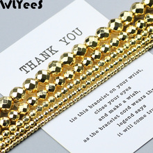 WLYeeS 18 Gold Faceted Round Hematite beads 2 4 6 8 10mm natural stone Ball Loose for DIY Jewelry Making Bracelet Necklace