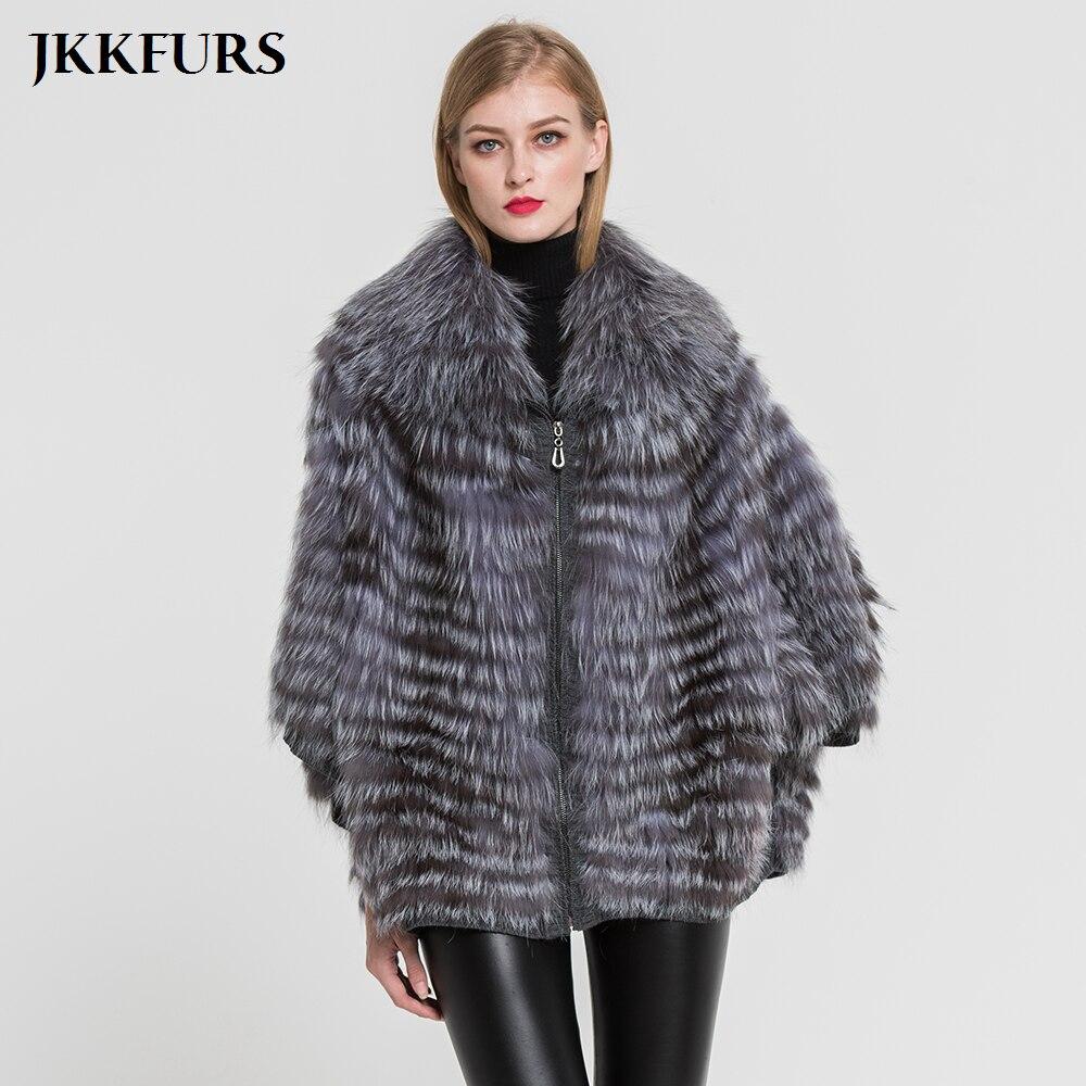 Femmes de Manteau De Fourrure Véritable style de mode Véritable Silver Fox Fourrure Veste vêtements d'hiver chauds Top Qualité Naturel De Fourrure Poncho S7383