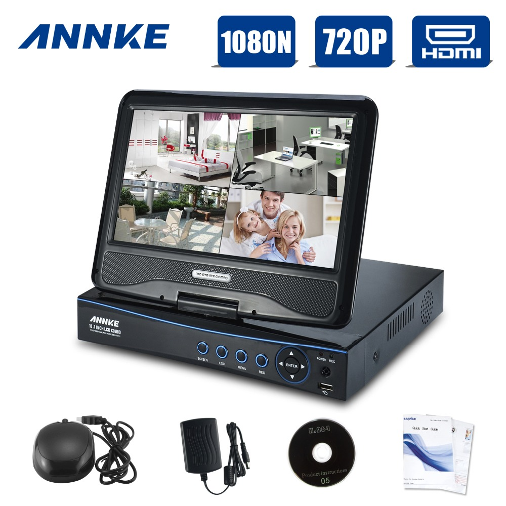 ANNKE CCTV 4 Channel 1080N Digital Video Recorder With 10 1 LCD Screen Hybrid DVR HVR