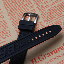 New arrival watchbands metal pin buckle clasp 22mm Mens Black Silicone Rubber Watch Strap Band Waterproof sports Watchbands