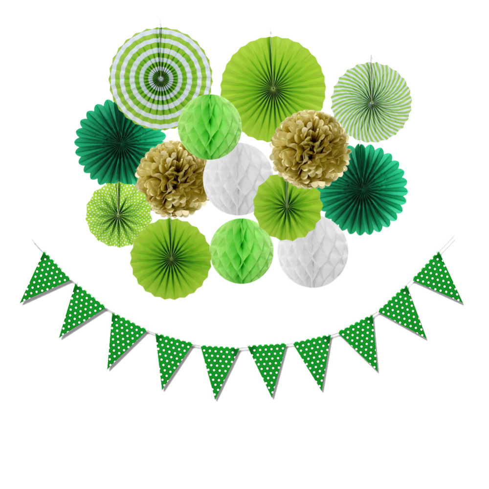 15pcs St Patricks Day Paper Decoration Set Rosette Fans Honeycomb Ball Pennant Flags Banner Wedding Birthday Party